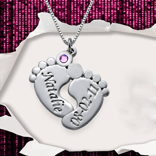 Baby Feet Name Necklace