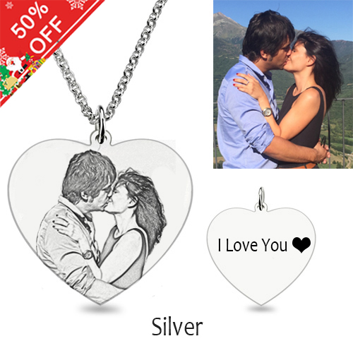 Personalized Heart Shape Photo Necklace Silver