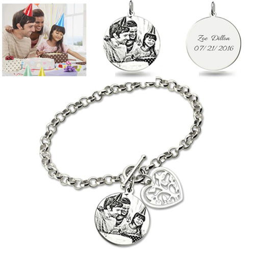 Personalized Photo Engraved Bracelet Sterling Silver