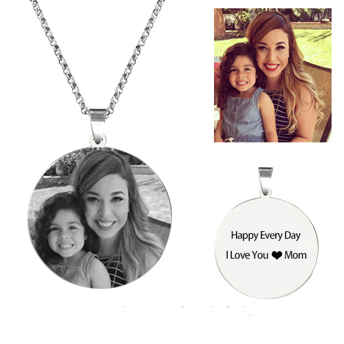 Personalized Round Photo Necklace Silver